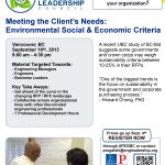 Sep 18: Meeting the Client's Needs – Environment Social & Economic Criteria